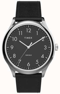 Timex |イージーリーダー40mm |黒革ストラップ|ブラックダイヤル| TW2T71900