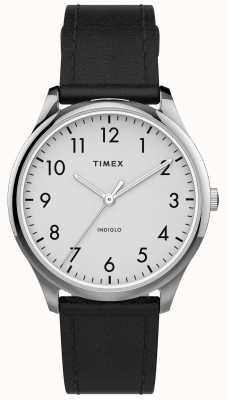 Timex |イージーリーダー32mm |黒革ストラップ|ホワイトダイヤル| TW2T72100