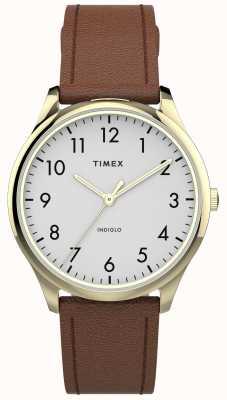Timex |イージーリーダー32mm |タン革ストラップ|ホワイトダイヤル| TW2T72300
