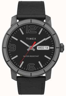Timex |メンズmod 44mm |黒革ストラップ|ブラックダイヤル| TW2T72600