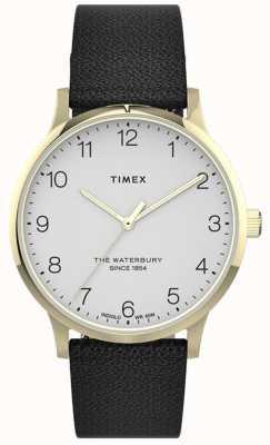 Timex |女性のウォーターベリー|黒革ストラップ|ホワイトダイヤル| TW2T75200