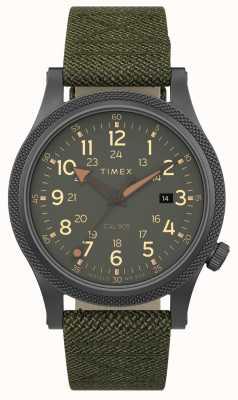 Timex |連合軍40mm |グレーケース|緑の布ストラップ| TW2T76000