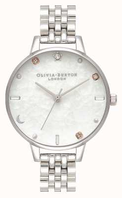 Olivia Burton |天の星と月の銀のブレスレット|真珠の母 OB16GD30