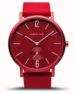 Bering |真のオーロラ|赤いゴム製ストラップ|赤いダイヤル| 16940-599