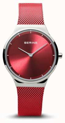 Bering |クラシック|女性の洗練されたシルバー|赤いメッシュブレスレット| 12131-303