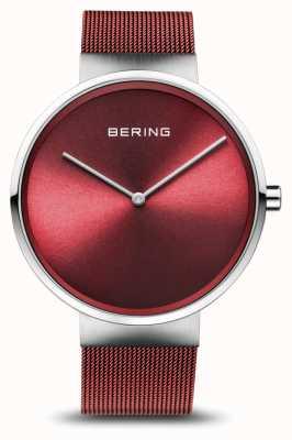 Bering |クラシック|ポリッシュ/ブラッシュドシルバー|赤いメッシュブレスレット| 14539-303
