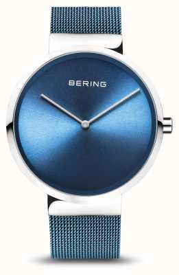 Bering |クラシック|ポリッシュ/ブラッシュドシルバー|ブルーメッシュブレスレット| 14539-308