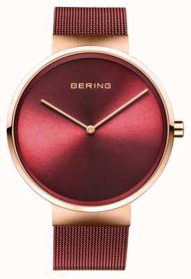 Bering |クラシック|ポリッシュ/ブラッシュドローズゴールド|赤いメッシュブレスレット| 14539-363