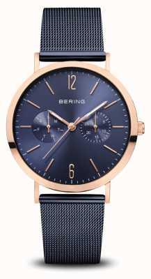 Bering  クラシック ポリッシュローズゴールド ブルーメッシュブレスレット  14236-367