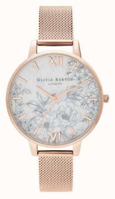 Olivia Burton |レディース|テラゾー花柄|ローズゴールドメッシュブレスレット| OB16TZ04
