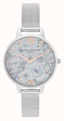 Olivia Burton |レディース|テラゾー花柄|シルバーメッシュブレスレット| OB16TZ06