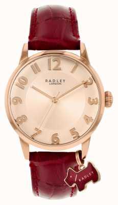 Radley リバプール通り|ブルゴーニュレザーストラップ|ローズゴールドダイヤル| RY2866