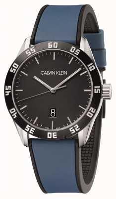Calvin Klein |男子コンペ|ブルーラバーストラップ|ブラックダイヤル| K9R31CV1