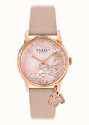 Radley 植物の花 裸革ストラップ ピンクの花のダイヤル  RY2884