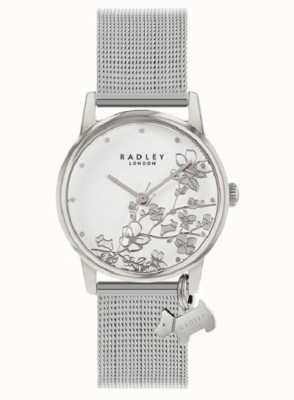 Radley 植物の花|シルバーメッシュブレスレット|ホワイトフローラルダイヤル RY4401