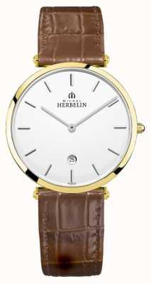 Michel Herbelin |メンズイプシロン|茶色の革ストラップ|シルバーダイヤル| 19406/P11GO
