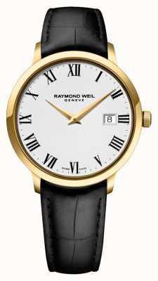 Raymond Weil メンズ|トッカータ|黒革ストラップ|ホワイトダイヤル 5488-PC-00300
