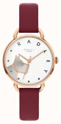 Radley |女性のウッドストリート|メルローレザーストラップ|ホワイトドッグダイヤル RY2874