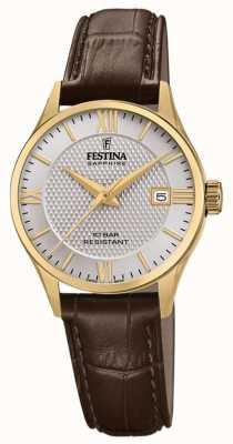 Festina |作られた女性のスイス|茶色の革ストラップ|シルバーダイヤル| F20011/2