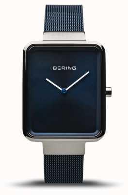 Bering クラシック|ポリッシュ/ブラッシュドシルバー|ブルーメッシュストラップ| 14528-307