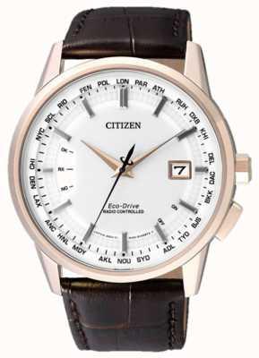 Citizen 永久にラジコン|ブラウンストラップ|白い文字盤 CB0153-21A