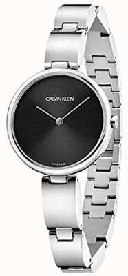 Calvin Klein |女性のステンレスブレスレット|ブラックダイヤル| K9U23141