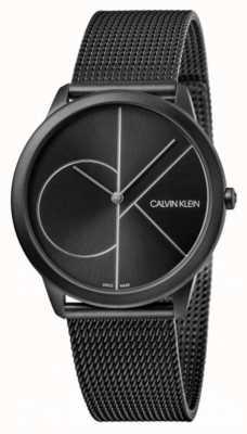 Calvin Klein |最小限|ブラックスチールメッシュブレスレット|ブラックダイヤル K3M5145X