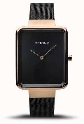 Bering |女性のクラシック|洗練された黒メッシュ|ブラックダイヤル| 14528-166