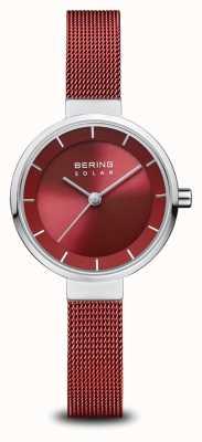Bering ソーラー|ポリッシュシルバー|赤いメッシュブレスレット|赤いダイヤル| 14627-303