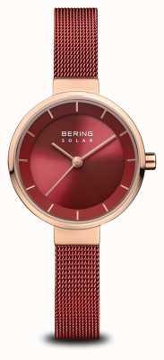 Bering |女性のソーラー|ポリッシュローズゴールド|赤いメッシュ|赤いダイヤル| 14627-363
