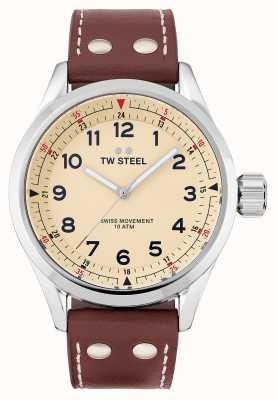 TW Steel |メンズ|スイスボランテ|クリームダイヤル|茶色の革ストラップ| SVS101