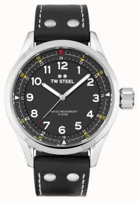 TW Steel |メンズ|スイスボランテ|ブラックダイヤル|黒革ストラップ| SVS103