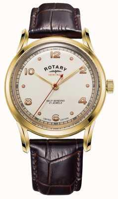 Rotary メンズ 限定版 遺産 ブラウンレザーストラップ GS05143/03
