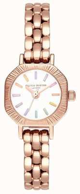 Olivia Burton |虹色の淡い金のブレスレット|ホワイトダイヤル| OB16CC50