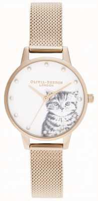 Olivia Burton 真珠のような子猫ローズゴールドメッシュ OB16WL88