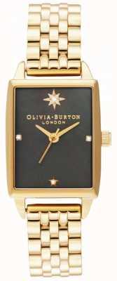 Olivia Burton |天のフェイク|ブラックマザーオブパールダイヤル|ゴールドブレスレット OB16GD60