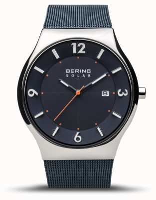 Bering |メンズ|スリムソーラー|ネイビーブルー|メッシュブレスレット| 14440-307