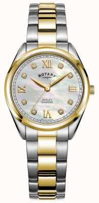 Rotary 女性のヘンリー|ダイヤモンドセットダイヤル|ツートンカラーブレスレット| LB05111/41/D
