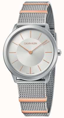 Calvin Klein |最小限|スチールメッシュブレスレット|シルバーダイヤル| 35mm K3M521Y6