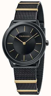 Calvin Klein |最小限|ブラックメッシュブレスレット|ブラックダイヤル| 35mm K3M524Z1