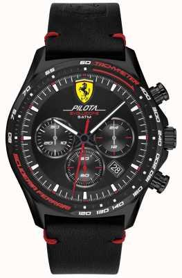 Scuderia Ferrari  メンズピロタエボ 黒革ストラップ ブラックダイヤル 0830712