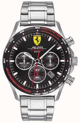 Scuderia Ferrari  メンズピロタエボ ステンレスブレスレット ブラックダイヤル  0830714