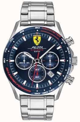 Scuderia Ferrari |メンズピロタエボ|ステンレスブレスレット|ブルーダイヤル 0830749