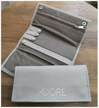 Adore By Swarovski Jewellery Pouch Grey Leather ADORE-POUCH
