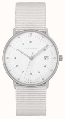 Junghans マックスビルダーメン|白いナイロンストラップ|白い文字盤 047/4050.04