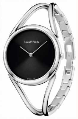 Calvin Klein レディ|ステンレススチールバングルブレスレット|黒文字盤 KBA23121