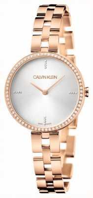 Calvin Klein エレガンス|ローズゴールドステンレスブレスレット|シルバー文字盤 KBF23X4W