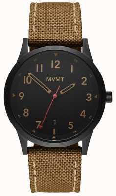 MVMT |フィールド|茶色のキャンバスストラップ|黒の文字盤 28000017-D