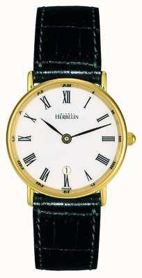 Michel Herbelin レディースブラックレザーストラップ|白文字盤|ゴールドケース 16845/P01