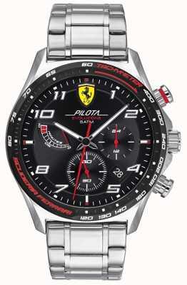 Scuderia Ferrari |メンズピロタエボ|ステンレススチールブレスレット|黒文字盤 0830720